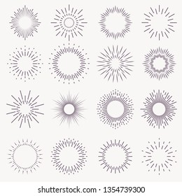 Vintage sunburst. Bursting rays sunrise firework starburst blast burst sunset star light ray radiant spark hand drawn, trendy vector badge set
