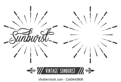 Vintage Sunburst Design Vector Template