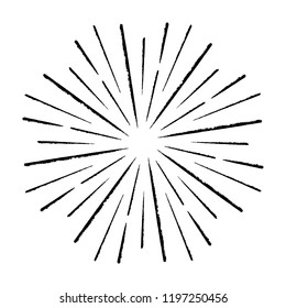 Vintage Sunburst Explosion Chalk Handdrawn Design Element Fireworks Black Rays