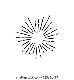Vintage Sunburst Explosion Handgezeichnet Design Element Feuerwerk Schwarze Rays
