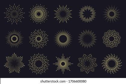 Vintage sunburst frames. Radiant sunburst lines, hands drawn sunbursts badges, firework sparks rays. Radiant star burst isolated vector icons set. Hand drawn badge radiant sun illustration