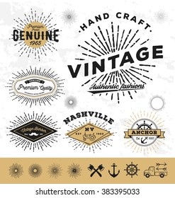 Vintage sunburst logo and label elements. vector illustration