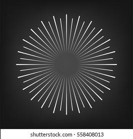 Vintage sunburst. Rays design elements. Vector illustration isolated