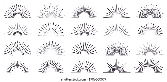 Vintage sunburst. Retro radiant sunburst, starburst hand drawn label, sun rays, firework radiant rays. Bursting explosion lines vector isolated icon set. Sunshine radial, starburst linear illustration