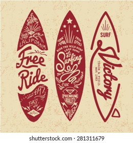 vintage surf board with type