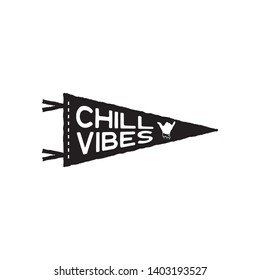 Vintage surf pennant print design for t-shirt and other uses. Chill Vibes typography quote calligraphy and shaka icon. Unusual hand drawn surfing graphic patch emblem. Stock vector isolated
