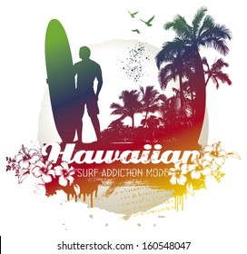 vintage surf scene with rider and palms