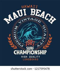 vintage surf varsity style text print
