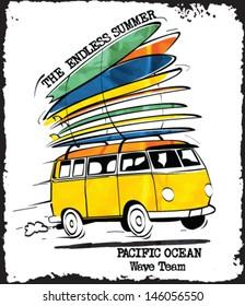 vintage surfer bus sketch
