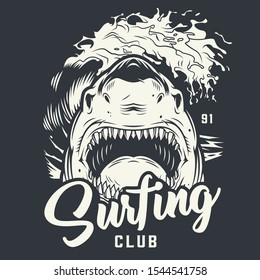 Vintage surfing club monochrome concept with angry ferocious shark and sea waves isolated vector illustration