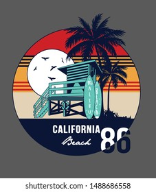 Vintage surfing club print with Lifeguard tower, palm trees, surfboards and birds vector illustrations. California, Los Angeles theme print