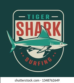 Vintage surfing colorful badge with inscriptions and shark isolated vector illustration