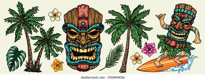 Vintage surfing elements colorful concept with palms tropical flowers and surfer in hawaiian tiki mask riding wave isolated vector illustration