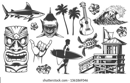 Vintage surfing elements monochrome collection with animals surfer surfboards tribal mask ukulele flower palm sea wave surf van shaka hand sign surfing club house vector illustration