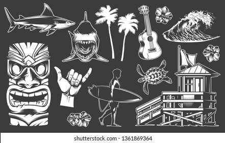 Vintage surfing elements set with shark surfer holding surfboard ukulele tribal mask surf van shaka hand sign palms sea wave turtle hibiscus flower vector illustration
