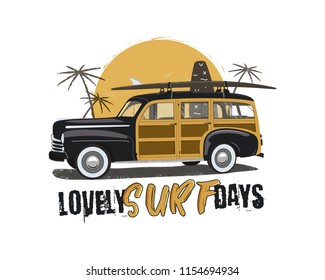 Vintage Surfing Emblem with retro woodie car. Lovely surf days typography. Included surfboards, palms and sun symbols. Good for T-Shirt, mugs. Stock vector isolated on white background.