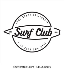 Vintage Surfing Emblem for web design or print. Surfer logo template. Surf Badge. Summer fun. Surfboard elements. Outdoors activity - boarding on waves.