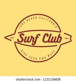 Vintage Surfing Emblem for web design or print. Surfer logo template. Surf Badge. Summer fun. Surfboard elements. Outdoors activity - boarding on waves.