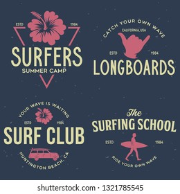 Vintage Surfing Emblems for web design or print. Surfer logo templates. Surf Badges. Summer fun. Surfboard elements. Outdoors activity - boarding on waves. Vector.