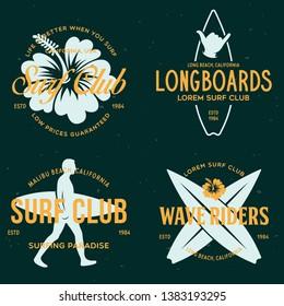 Vintage Surfing Emblems for web design or print. Surfer logo templates. Surf Badges. Summer fun. Surfboard elements. Outdoors activity - boarding on waves. Vector.