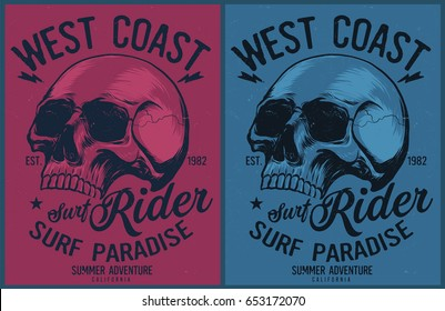 Vintage Surfing graphics and Emblem with grunge background.