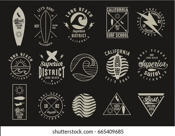 Vintage Surfing Graphics and Emblems.