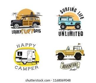 Vintage surfing graphics and emblems set for web design or print. Surfer logo templates. Surf Badges. Summer fun. Surfboard elements. Outdoors activity - boarding on waves. Vector hipster insignias.