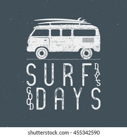 Vintage Surfing Graphics and Poster for web design or print. Surfer banner with van, rv and typography sign - surf days. Old style caravan car for prints, tee, t shirt. Isolate Vector on dark.