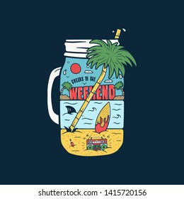 Vintage Surfing Graphics Print for web design or shirts. Unusual beach silhouette surf scene landscape with retro tape recorder, palms, surfboard, sea, shark inside jar. Outdoor summer. Stock vector