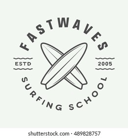 Vintage surfing logo, emblem, badge, label, mark. International surfing day card. Graphic art. Vector Illustration. Graphic Art.