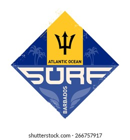 Vintage surfing logo. Vector design template for tees or board with palm and waves.
