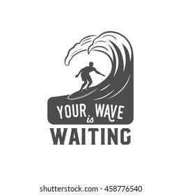 Vintage surfing logotype, badge or emblem. Surfer, beach style logo design.  Summer boarding on waves.