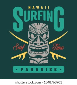 Vintage surfing paradise label with traditional hawaiian tiki mask isolated vector illustration