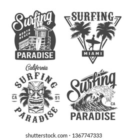 Vintage surfing time prints with house of surf club surfer hawaiian tribal tiki mask sea wave isolated vector illustration