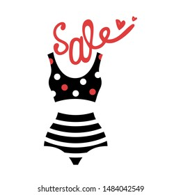 The vintage swimsuit. Sale. Lettering. Isolated vector illustration