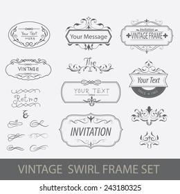 vintage swirl frame set vector illustration