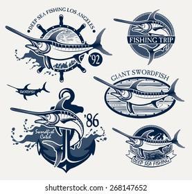 Vintage swordfish fishing emblems, labels and design elements