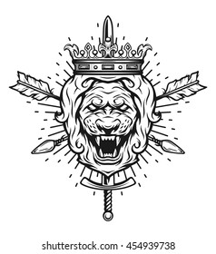 Vintage symbol of a lion's head, a crown, sword and crossed arrows. Emblem, t-shirt graphic.