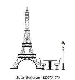Vintage table and chair on eiffel tower