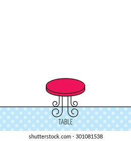 Vintage table icon. Furniture desk sign. Circles seamless pattern. Background with red icon. Vector