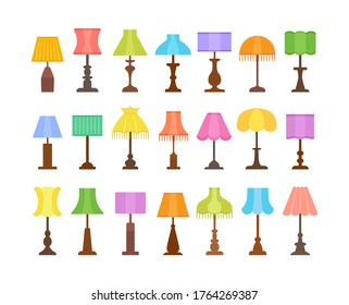 Vintage table lamps with different types of shades & bases. Flat icon set of desk light fixtures. Home antique lighting. Vector illustration. Isolated on white background