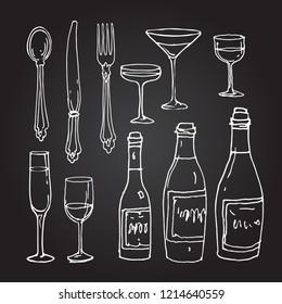 Vintage tableware line art. Retro spoon, fork, knife, bottle and glass hand drawn doodle sketch stock vector illustration, chalk on blackboard