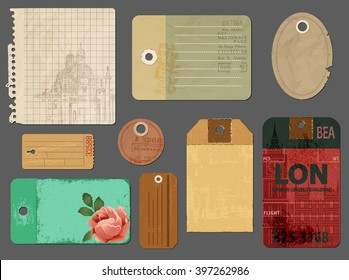 Vintage Tags and Scraps of Paper - Set of tattered torn notepaper pages and luggage labels, to be used for scrapbooks, journals, picture albums and as graphic resources for print
