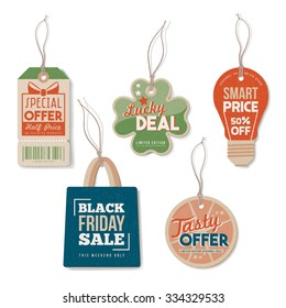 Vintage tags set with string, textured realistic paper, retail, sale and discount concept