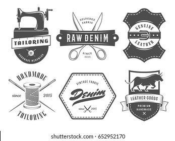 Vintage tailoring denim labels. Set of logos for tailoring, leather and denim shops. Vector retro style badges.