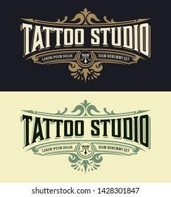 Plantilla de logotipo de Tatuoo de época. Vector en capas