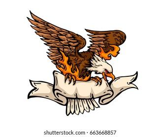 Vintage Tattoo Art Illustration - Flaming Patriotic American Eagle With Ribbon