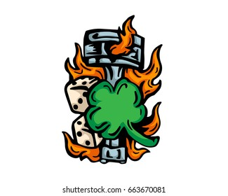 Vintage Tattoo Art Illustration - Lucky Clover And Flaming Motorcycle Piston