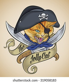 Vintage tattoo design of a cat's head, which wears a pirate hat, crossed with two blades and wrapped with a banner. Editable vector illustration.