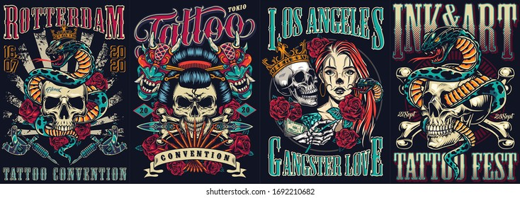 Vintage tattoo festivals posters set with skulls devil masks snakes tattoo machines dagger roses crossbones vector illustration